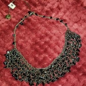 Vtg. Tierra Boho Statement necklace stone/leather